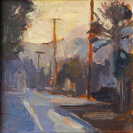 Empty street in urban scene