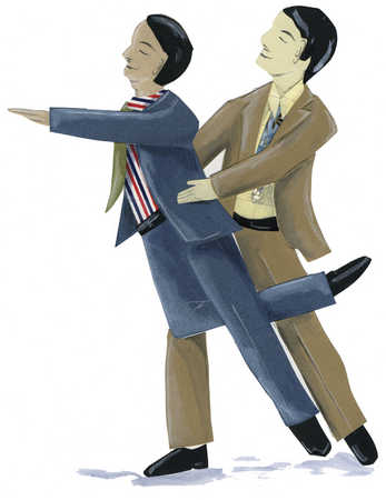 Two men in business suit dancing together.