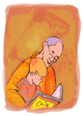 grandfather and grandson reading a book