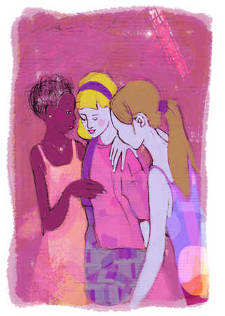 girls comforting their friend
