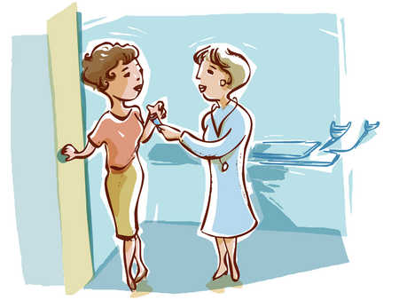 doctor handing a pap test tube to a patient