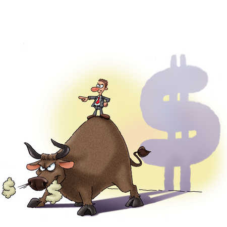 businessman standing on an angry bull
