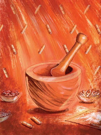mortar and pestle and pills, red background