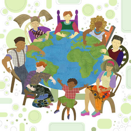 multicultural people sitting around a table in the shape of the earth