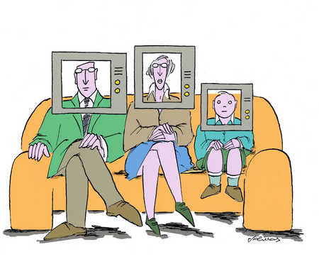 A family sits on a sofa with television screens on their heads.