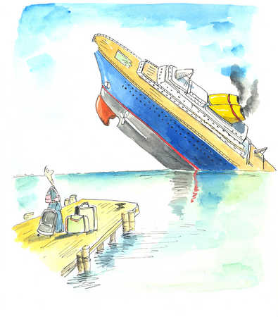 A cruise liner sinks in front of a surprised traveller waiting on a nearby pier.