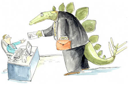 A dinosaur hands over a piece of paper to a terrified clerk.