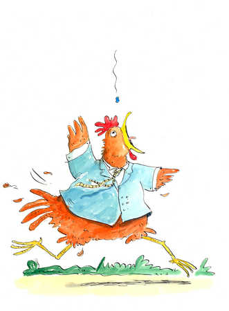 A chicken wearing a jacket is flustered as it runs.