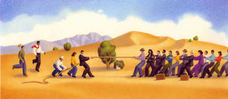 Three people in a tug of war with another big group.
