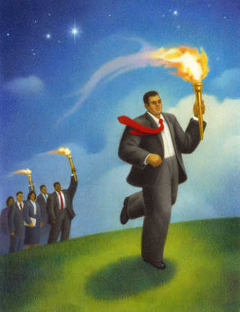 Businesman holding a torch.