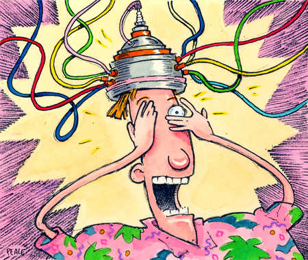 A frightened man wearing a cap connected with wires.