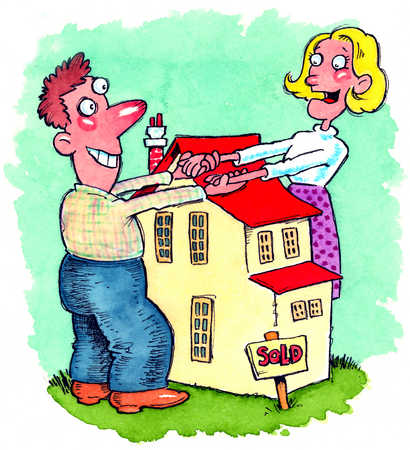 A couple holding hands over a house.