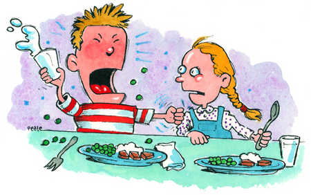 Stock Illustration - A young boy making a fuss at meal time.