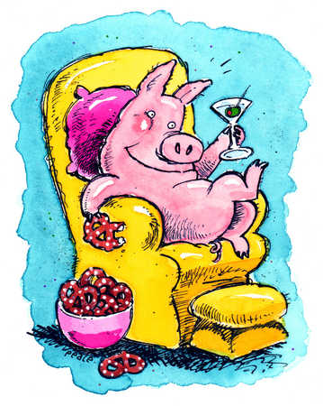 A pig drinking a cocktail and eating pretzels.