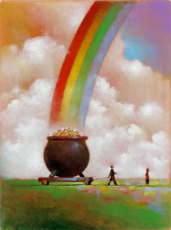 A man pulling a pot of gold with rainbow in the background