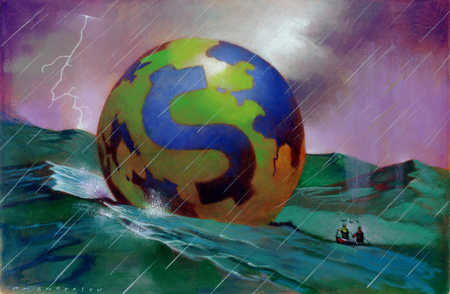 A boat paddling towards a globe marked with a dollar sign amidst the raging storm