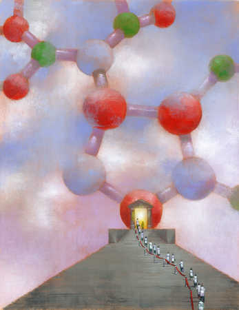 People queueing in front of an entrance to a molecular structure