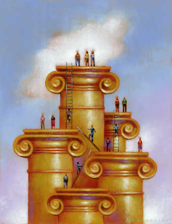 People climbing up the gold chimney via ladders