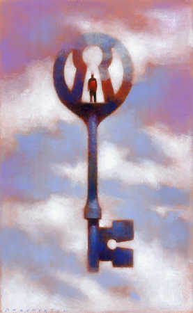 A person standing at a keyhole design on top of a key