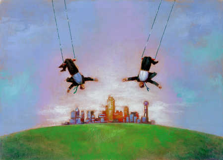Two men on trapezes with a city in the background