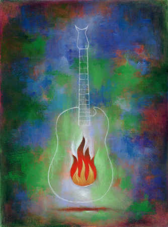 A guitar with a burning flame and a gothic background