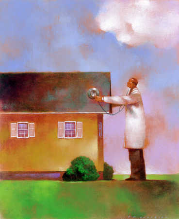 A doctor checking a house's health status