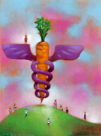 A caduceus symbol on a hill surrounded by people