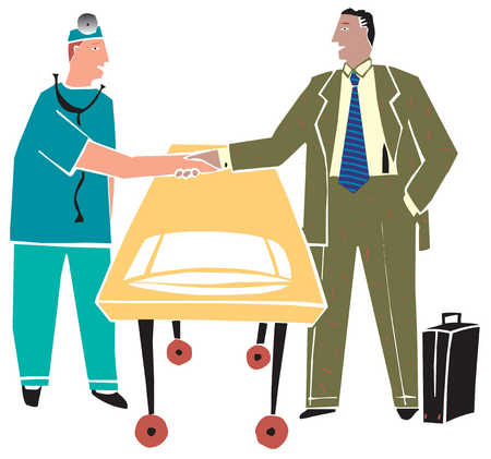 A doctor and a businessman shaking hands over an operating table