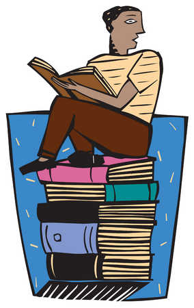 A man sitting on a pile of books