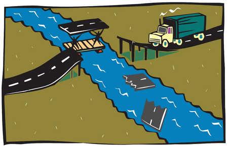 A truck waits while men fix a broken bridge over a river