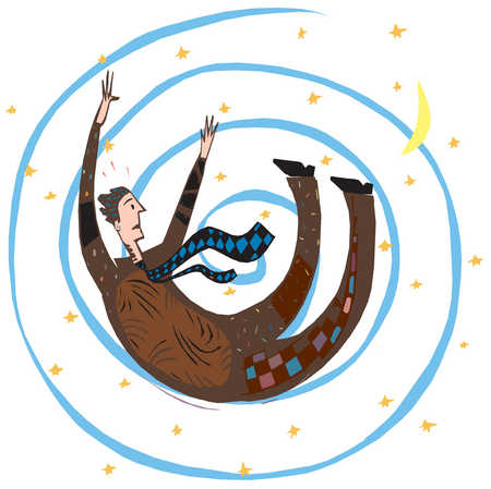 A man being spiraled into a starry background