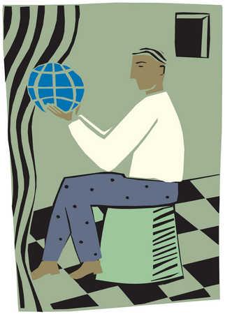 A man holding a globe