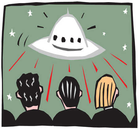 People watching a flying spacecraft