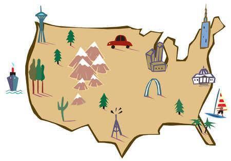 Stock Illustration An Illustration OF United States Of America - Cartoon us map
