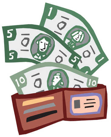 Stock Illustration - A picture of an open men's wallet
