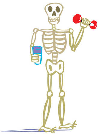 Stock Illustration A Skeleton Man Holding A Glass Of Milk And
