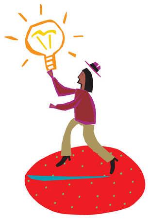 A man reaching for a bright lightbulb