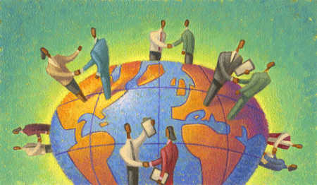 A graphic illustration of global business deals
