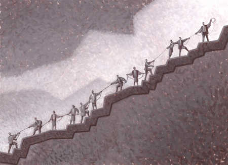 A group of people standing on a slope pulling up a rope