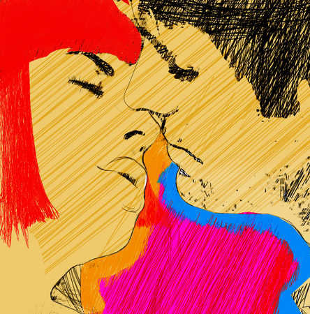 Illustration of a couple kissing