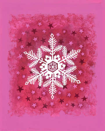 An illustration of a snowflake and stars on a pink background