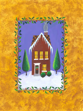 A graphical representation of a house on a yellow background