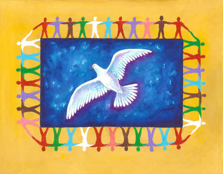 A flying white dove surrounded by people holding hands draw on a yellow background