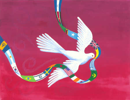 A dove holding a ribbon made out of flags of the world in its beak