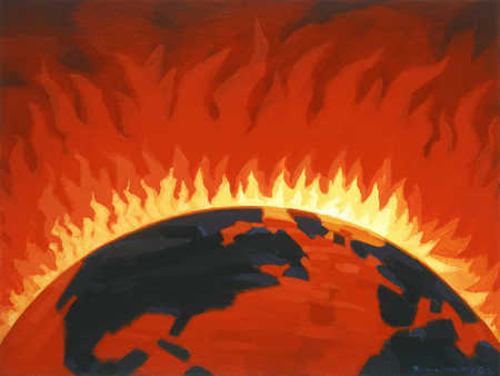 An illustration of the earth on fire