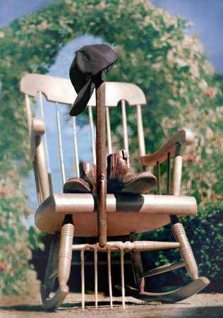 Rocking chair, garden fork, retirement, boots