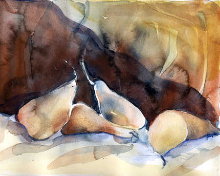 Watercolor of pears