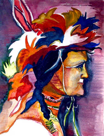 Watercolor of Native American person in headdress