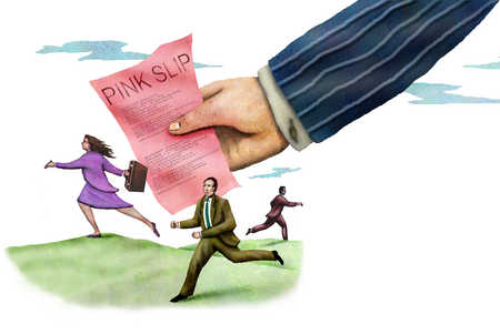 Business people running away from pink slip