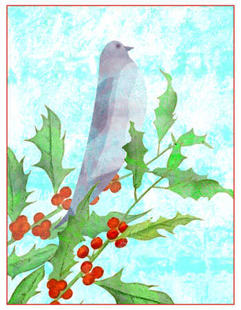 Watercolor of bird perched on branch